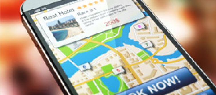 Maps applications with travel and booking information for hotels.