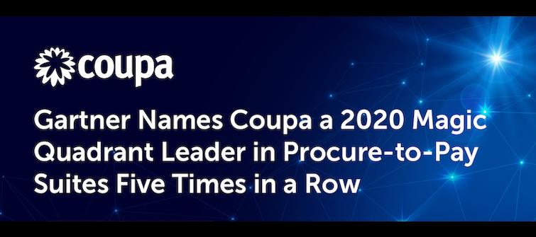 Coupa Named a P2P Suites Leader for Fifth Consecutive Time in Gartner Magic Quadrant