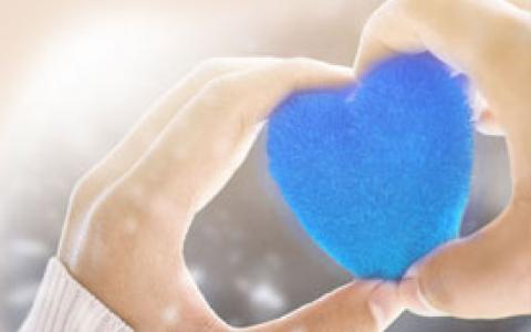 Person Holding a Blue Heart